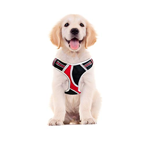 Petties&Sweeties No Pull Dog Harness, Reflective Adjustable Soft Padded Vest Unique Colors,with a Easy Control Training Handle for Small Medium Large Pet Red