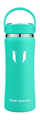 Super Sparrow Botella Agua Acero Inoxidable - Botella Agua Niños - Botella Termica Boca Ancha 500ml/ 750ml/ 1000ml - Sin BPA, para Niños & Adultos, Deporte, Oficina, Yoga, Ciclismo
