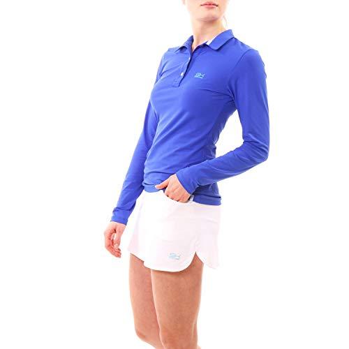 Sportkind Mädchen & Damen Tennis, Golf, Segeln, Funktions Poloshirt Langarm, UV-Schutz UPF 50+, atmungsaktiv, Kobaltblau, Gr. M