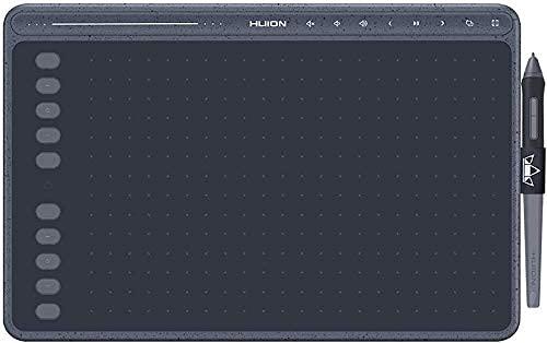 HUION HS611 Tabletas de lápiz de Dibujo, 2020 Nueva Tableta gráfica con función de inclinación Lápiz PW500 sin batería y Teclas Multimedia para BGM Compatible con Android, Windows y Mac OS (Blue)