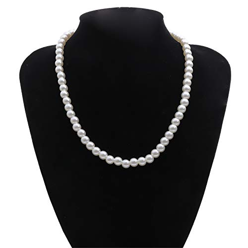 Pearl Choker Necklace|Faux Pearl Necklace|Women Pearl Necklace|Metal Alloy Romantic Pearl Necklace Inlaid Confession Lady Jewelry Gift. (A)