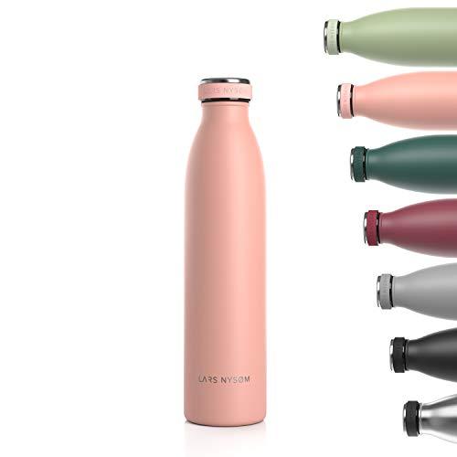 Lars NYSØM Botella de Acero Inoxidable de 750ml| Botella aislada 0.75l sin BPA | Botella de Agua a Prueba de Fugas para Deportes, Bicicleta, Perro, bebé, niños