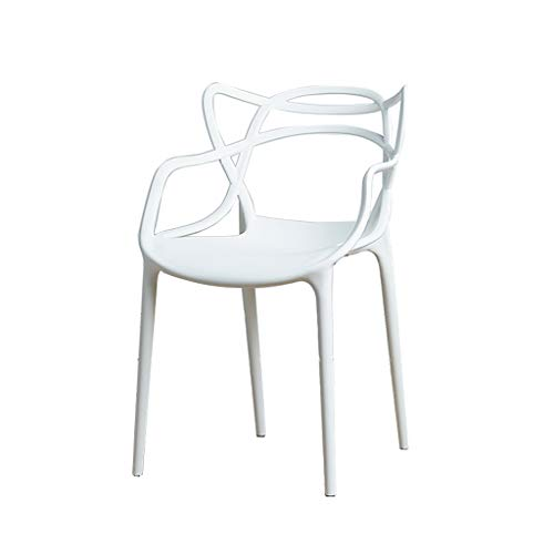 Shengluu Taburetes Taburete Silla De Plástico Hollow Vine Chair Silla De Comedor Sillón Silla De Oficina Outdoor Household Studio (Color : Blanco)