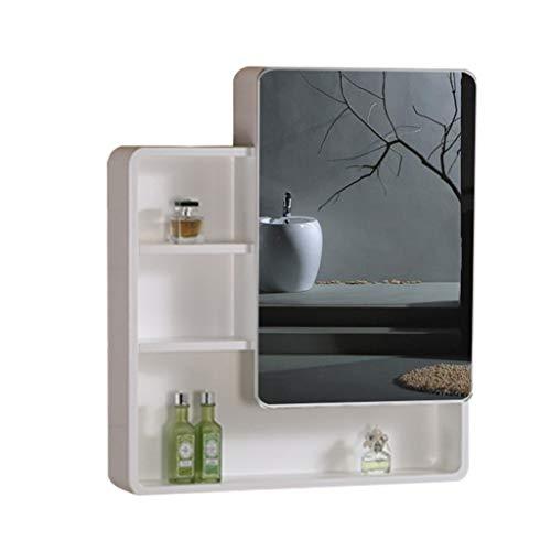 Badkameraccessoires Massief hout badkamer spiegelkast wand-wc locker badkamerspiegel met plank afgeronde hoek ontwerp + massief houten paneel (Color : White, Size : 60 * 14 * 80cm)