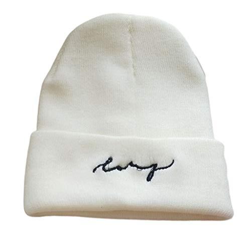 Gorro de punto cálido de invierno de color sólido letras bordadas con el puño del cráneo sombrero