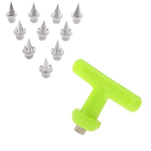 MagiDeal 10 Piezas Reemplazo de Clavos de Acero al Carbono + Mango en T Clavos de Pista Llave Accesorios para Correr al Aire Libre