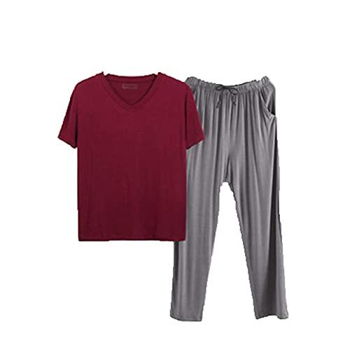 Pijamas De Primavera Y OtoñO para Hombre, Pantalones De Manga Corta De Modal para Hombre, Traje, Pijama Informal Suelto, Servicio A Domicilio