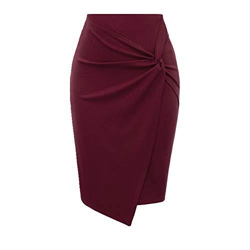 U/A Negro/Vino Fruncido Faldas Mujer Primavera Verano Color Sólido Asimétrico Dobladillo Envoltura Frontal Falda Señoras Estiramiento Lápiz Oficina Falda Rojo rosso 48