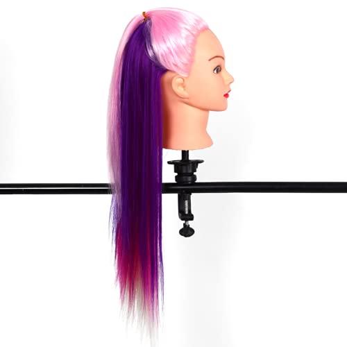 KASD Cabeza de Entrenamiento, muñecos de maniquí de Pelo de Fibra sintética Coloridos de 26 Pulgadas para Peluquero para Entrenamiento de Peinado(No. 1 Rosa + Multicolor)