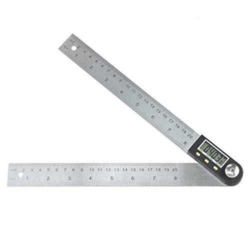 EVFIT Regla de Buscador de ángulos 200 mm de Acero Inoxidable transportador de Madera Regla de ángulo de carpintería Pantalla Digital Regla de ángulo Universal (Color : Silver, Size : One Size)