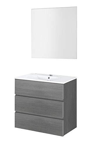 Baikal 830134025 Conjunto de Muebles de Baño con Lavabo y Espejo Luna Lisa, Suspendido a la Pared, Tres Cajones, Melamina 16mm, Acabado en Roble Gris Ceniza, 70 X 76 X 46 cm