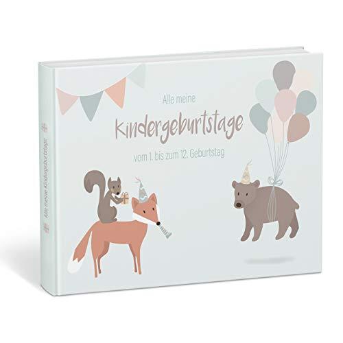 """Mintkind® """"Alle meine Kindergeburtstage"""" Erinnerungsalbum vom 1. bis zum 12. Geburtstag – Fotoalbum zum Selbstgestalten   Erinnerungsbuch zum Ausfüllen für Mädchen und Jungen"""