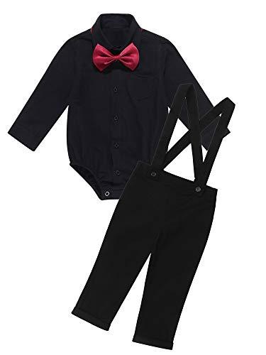 Kaerm Baby Jungen Smoking Strampler Gentleman Sommer Kleidung Anzug Kurz Fliege Jumpsuit Outfit mit Hosenträger Hosen Festlich Schwarz 68