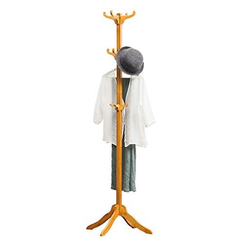 XIAOLI Bedroom Coat Rack Coat Stand Simple And Modern Coat Rack Bamboo Coat Hanger Holder Home Bedroom Living Room Standing Coat Rack Coat Rack Stand (Color : Wood)