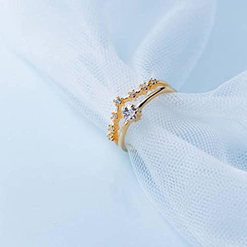 BEWITCHYU Anillo de Plata S925, Anillo Abierto con Doble Estrella de Cinco Puntas con Diamantes para Mujerdorado