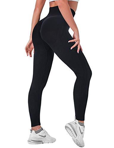 SHAPERIN Mallas deportivas de compresión para mujer, de cintura alta, opacas, anticelulitis, push-up, para correr, fitness, yoga, entrenamiento, gimnasio #4 Black S