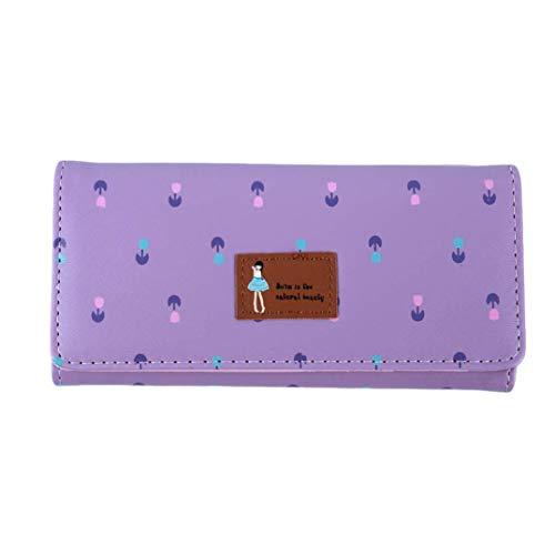 JoyRolly Frauen-Langer Absatz-Karikatur-Münzen-Geldbeutel-nettes kleines Blumenumschlag-Studentin-kleines neues Geldbörsen-Geschenk Color1