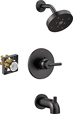 Delta Faucet Trinsic 14 Series Single-Function Tub and Shower Trim Kit with Single-Spray H2Okinetic Shower Head, Matte Black T14459-BL (Valve Included)