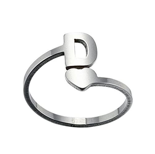 Anillos para mujer de acero inoxidable, anillo de alfabeto, apertura ajustable, para parejas, amigos, joyas, regalos para ella, plata D