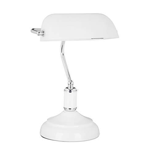 Relaxdays Bankerlampe weiß, Glas Lampenschirm, schwenkbarer, Schreibtischlampe, Retro Stil, Tischlampe Metall, Vintage Tischleuchte HBT 36 x 26 x 21 cm, weiß-silber
