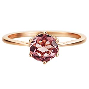 14K Solid Rose Gold Genuine Pink Tourmaline Promise Engagement Ring | October Birthstone