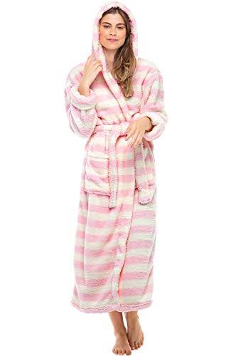 Alexander Del Rossa Women's Plush Fleece Robe with Hood, Long Warm Bathrobe, Small Medium Cream and Pink Striped (A0304P10MD)