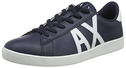 Armani Exchange Herren Action Leather Flag Shoes Sneaker, Navy Optic White, 44 EU