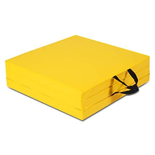 COSTWAY 180 x 60 x 5 cm Weichbodenmatte klappbar, Gymnastikmatte tragbar, Yogamatte wasserabweisend, Turnmatte rutschfest, Klappmatte, Fitnessmatte (gelb)