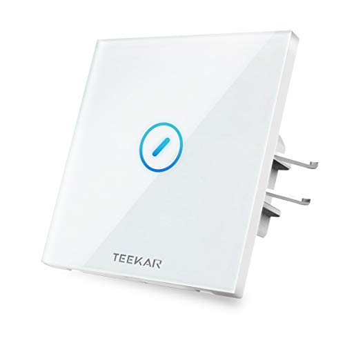 TEEKAR【Schaltbares LED Smart Alexa Lichtschalter Touchscreen, WLAN WiFi Schalter Unterputz Kompatibel Mit Alexa, Google Home Und IFTTT, Timing-Funktion Und APP Fernbedienung, 80mm Abmessungen, 1 Weg