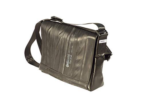 Bikebag L - Schultertasche/Messengerbag Upcycling aus Fahrradschlauch und LKW-Plane Schwarz Recycling Einzelstück mit Hüftgurt