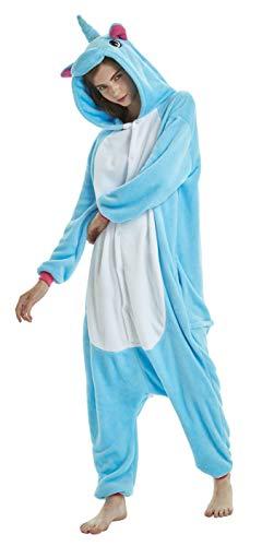 FunnyCos Einteiler für Erwachsene, Tier-Pyjama, Unisex, Halloween, Cosplay, Kostüm, Loungewear Gr. S(Höjd 147/157 cm), Blauer Pegasus