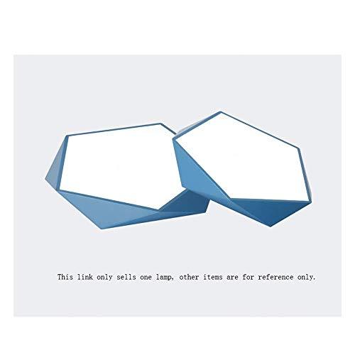 Plafonnière, blauwe lamp, geometrische kroonluchter, slaapkamer, studeerkamer, kinderkamer, romantisch, warme LED-hanglamp, productie (kleur: wit licht, grootte: 60CM-48W)