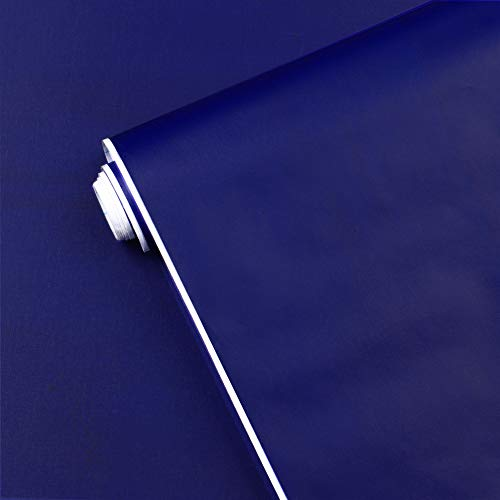 17.7' x118' Dark Blue Peel and Stick Wallpaper Blue Contact Paper Waterproof Self Adhesive Removable Blue Wall Paper Textured Wallpaper Decorative for Wall Covering Countertop Table Cabinet Vinyl Film