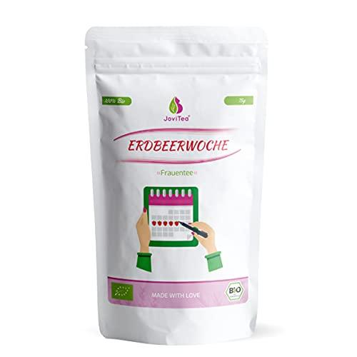 JoviTea® Erdbeerwoche Bio Tee - Loser Tee für Frauen - Empfohlen während der Menstruation mit leckerem Geschmack - ohne künstliche Inhaltsstoffe - 75g