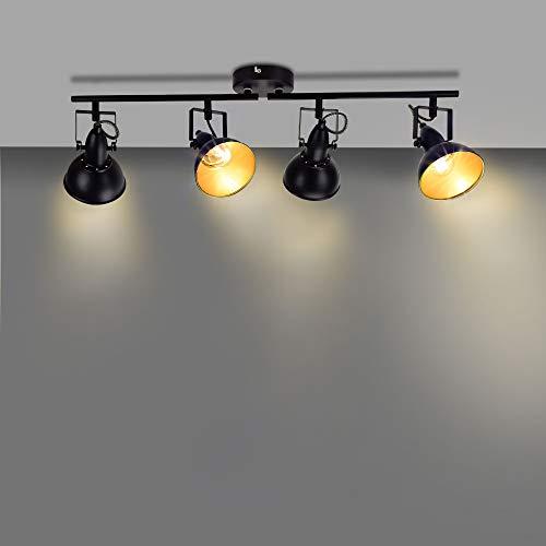Depuley Retro Rotatable 4 Way LED Ceiling Spotlight, Track Lighting with Metal Iron Swiveling Spots, Black-Golden Kitchen Lights for Livingroom Bedroom Kitchen(No Bulbs)