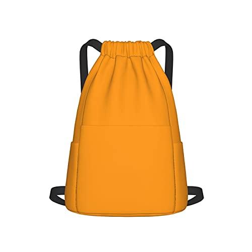 Mochila con cordón para deporte, gimnasio, gimnasio, naranja, melocotón, unisex, bolsa de viaje, con bolsillo lateral para gimnasio, compras, deporte, yoga