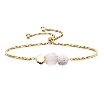 Jardme Essential Oil Diffuser Bracelet Lava and Rose Quartz Essential Oil Bracelet Rose Quartz Gemstone Bracelet Adjustable Gold Bracelet