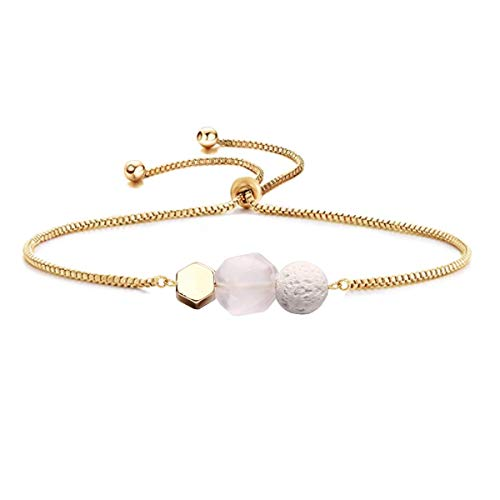 Price comparison product image Jardme Essential Oil Diffuser Bracelet,  Lava and Rose Quartz Essential Oil Bracelet,  Rose Quartz Gemstone Bracelet,  Adjustable Gold Bracelet