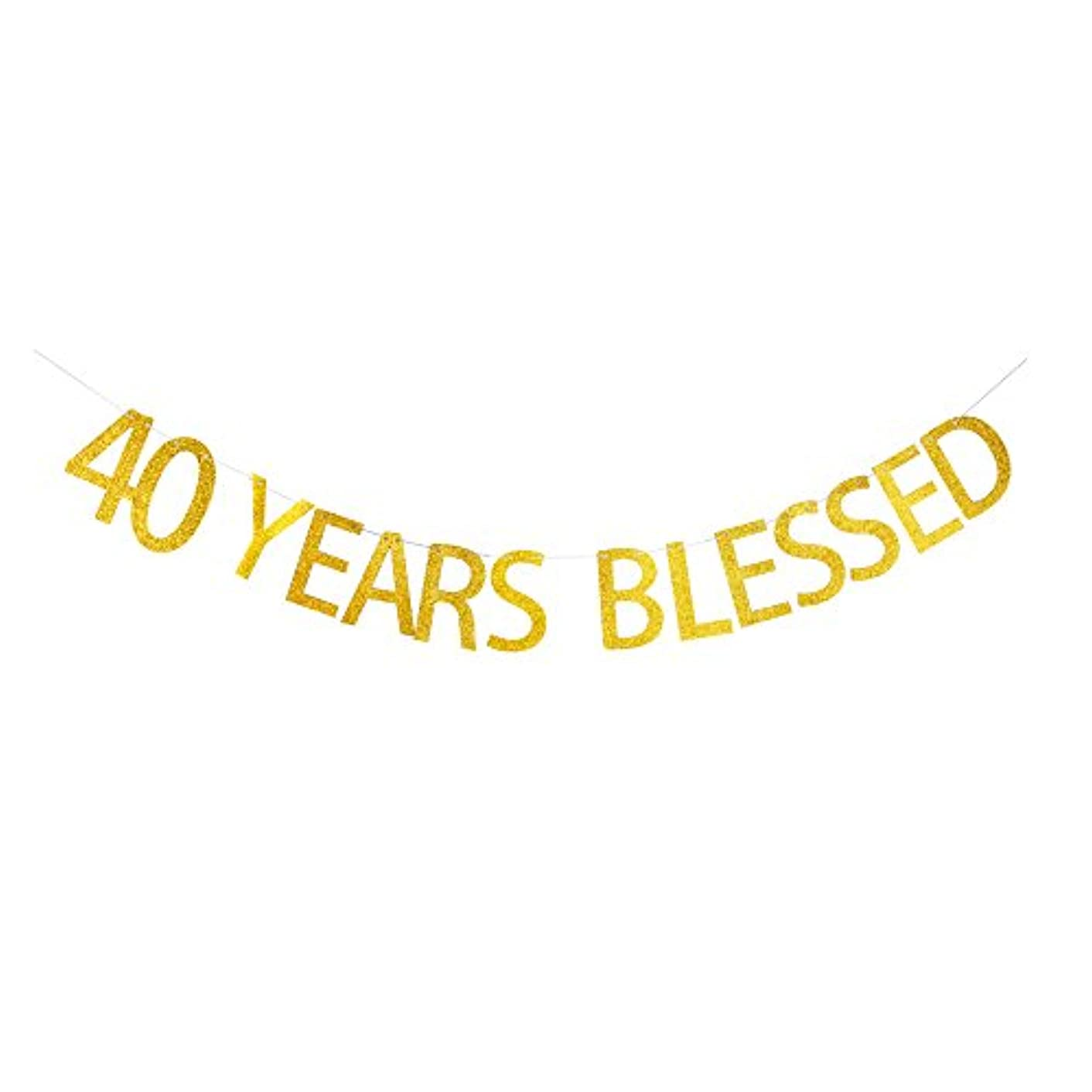 40 Years Blessed Banner Gold Gliter Paper Sign for 40th Birthday/Wedding Anniversary Party Decorations