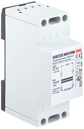 Grothe 1512020 Klingel Transformator 8 V AC, 1 A, GT 50810