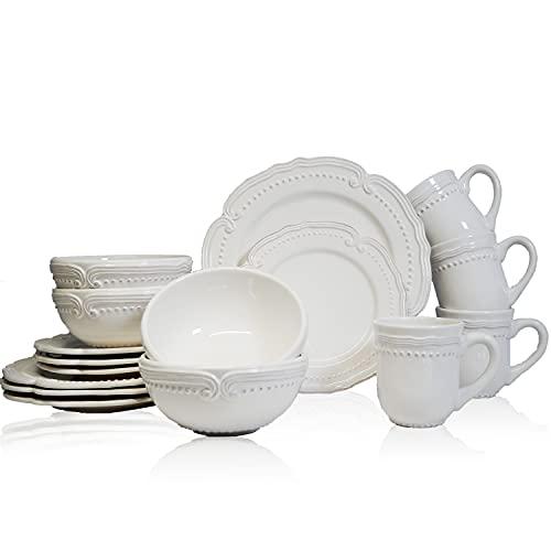 American Atelier 16 Piece Victoria Round Dinnerware Set, Wh