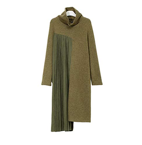 Vestidos De Fiesta Vestir Dress Mujer Niña Women Asymmetric Pleated Spliced Knitting Dress New Turtleneck Long Sleeve Loose Fit Fashion-Green_One_Size