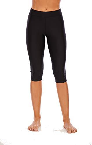 Viloree Damen Hautenge Leggings Badeshorts 3/4-Beine Boardshorts Schwimmhose UV-Schutz Sonnenschutz Wassersport Schwarz 4XL