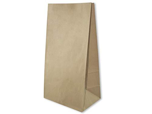 Braun 50 STK 19x13x37cm Papier-Lunchbag, Lebensmitteltüten, Papiertüte für Backwaren, Einkaufstasche aus Papier, Papiertüte ohne Griffe, Bäckertüte, 190x130x370mm