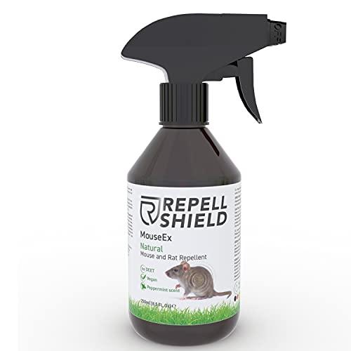 RepellShield Spray Ahuyentador de Ratones - Repelente para Ratas de Exterior e Interior con Aceite escencial de Menta y Canela - Alternativa Natural a Repelente Ultrasonico y Mata Ratones Común, 250ml