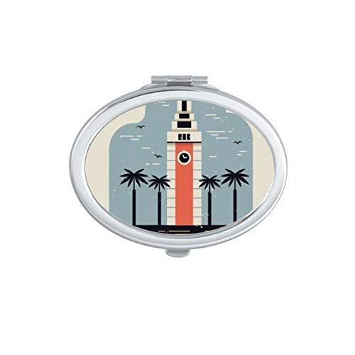 DIYthinker Hong Kong Aéroport International Ovale Makeup Compact Miroir de Poche Miroirs Mignon Petit Cadeau Portable à la Main Multicolor