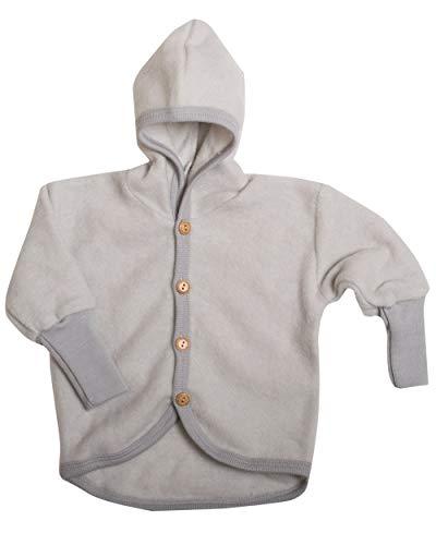 Cosilana Baby Jäckchen mit Kapuze aus weichem Wollfleece, 60% Schurwolle kbT, 40% Baumwolle (KBA) (74/80, Grau Melange)