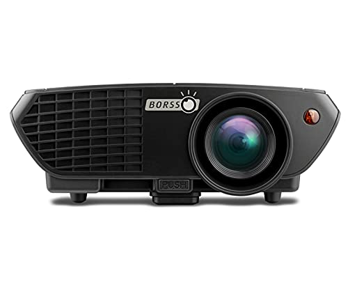 Borsso® Pluto 5.0 Full HD 1080p Projector 3500 Lumens, HDMI USB VGA AV, 150 Inch, for Home Cinema Projector, Support Anaglyph 3D