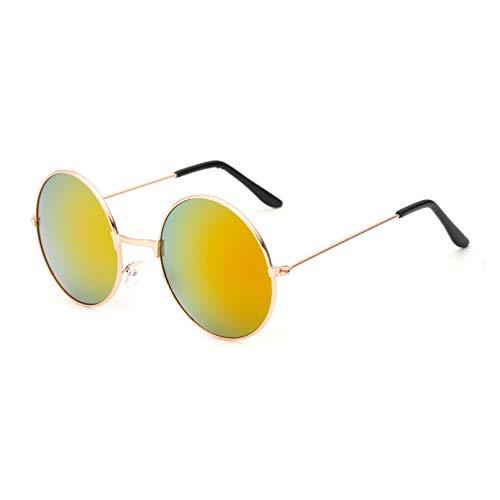 SHEANAON Gafas de Sol Redondas para Mujer, Hombre, Mujer, Lentes de Espejo de Metal, Gafas de Sol para Mujer, Hombre