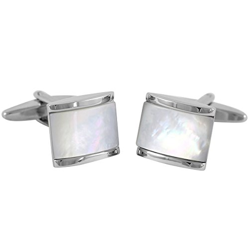 Lindenmann Classic G.CHABROLLE Cufflinks/Cuff Buttons, Silvery, Nacre, with Gift Box, 6008